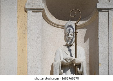 Statue of St. Nicholas on the facade of a church