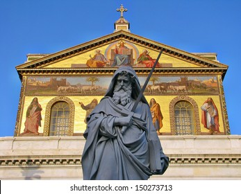 Statue of St. Paul holding a sword in Basilica of Saint Paul outside the walls in Rome, Italy
