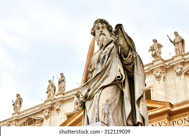 Statue of St. Paul outside the basilica of St. Peter