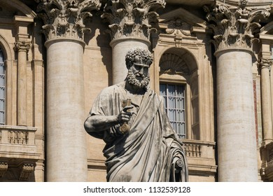 Statue of St Peter outside St Peter's basilica in Vatican City