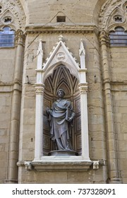 Statue of St. Stephen by Lorenzo Ghiberti on Orsanmichele church façade in Florence, Italy