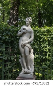 "Statue of the Summer Garden "" Allegory Of Voluptuousness"". Copy. Old Public park ""Summer Garden"" in St. Petersburg, Russia"