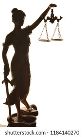 Statue of Themis - goddess of justice. Silhouette.