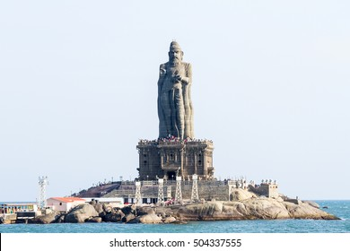 Statue of Thiruvalluvar - the celebrated Tamil poet and philosopher, author of the Thirukkural, a work on ethics. On the rock Island in in Laccadive Sea, Kanyakumari, India.