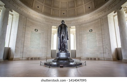 Statue of Thomas Jefferson in the Jefferson Memorial in Washington DC, USA on 13 May 2019