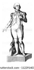 Statue of the Tour-D'Auvergne, A carhaix, vintage engraved illustration. Magasin Pittoresque 1841.