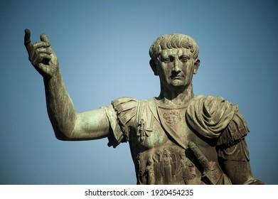 Statue of Trajan on Via dei Fori Imperiali. Rome. Italy