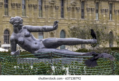 Statue in the Tuileries Park in Paris. FRANCE - May 2017