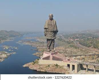 Statue of Unity aerial view taken at Narmada, Gujarat on 10/11/2018.