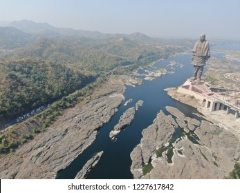 Statue of Unity photo was taken while analyzing people visit at Narmada, Gujarat on 10/11/2018. Aerial view of Statue of Unity.