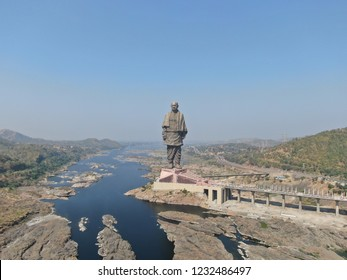 Statue of unity wide angle view, Narmada, Gujarat, India - 11/9/2018: Aerial view of world tallest statue from drone.