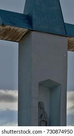 Statue at Vahu and Danube. City - Komarno.