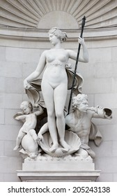 Statue of Venus on the Facade of the Lloyd Palace in Trieste, Italy
