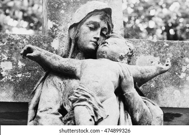 statue of the Virgin Mary with the baby Jesus Christ in her arms (Retro styled)