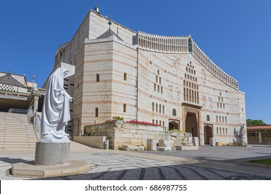 Statue of the Virgin Mary in the grounds of the Basilica (Church) of the Annunciation in Nazareth, Galilee, Israel, Middle East.