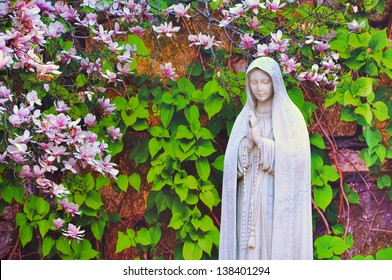 Statue of Virgin Mary, With magnolia flowers in the background. Picture taken in St Leonard Roman Catholic Church, Boston, USA