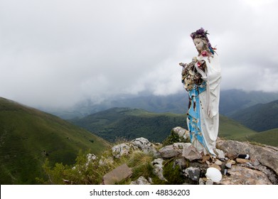 statue of the Virgin Mary in in mountains of Pyrenees, Spain