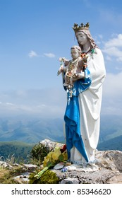 statue of the Virgin Mary in in mountains of Pyrenees, France