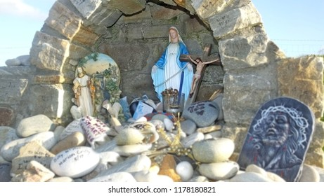 Statue of Virgin Mary at a Shrine in Mamore Gap Ballyliffin Done