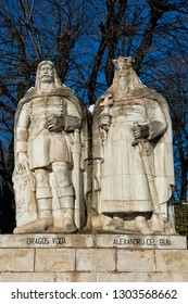 The Statue of the Voivodes, consisting of the statues of eight voivodes, grouped by two, in Iasi, Romania.  Dragoș Vodă and Alexandru cel Bun (Dragoş Voda and Alexandru the good one)