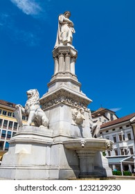 Statue of Walther von der Vogelweide, a German minstrel or minnesinger on Walther Square in Bolzano, the capital city of the province of South Tyrol in Italy