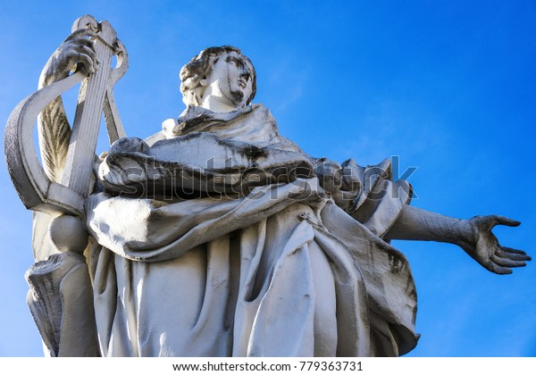 Statue White Stone Woman Musician Harp Stock Photo Edit Now