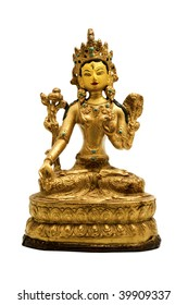 Statue of White Tara on a white background
