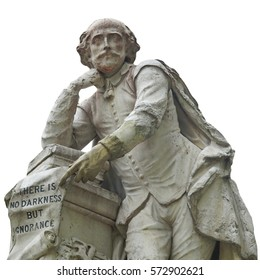 Statue of William Shakespeare (year 1874) in Leicester square, London, UK - isolated over white background