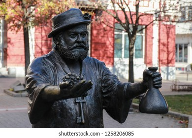 The statue of the winemaker Vinko Lozidzha in the square of Saint Theoror Vrshatsky, Serbia, Vojvodina, Vrsac town, December 9, 2018