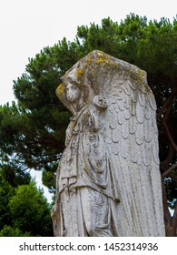 Statue of winged Minerva, Ancient Archaeological Roman Site of Ostia Antica in Rome, Italy