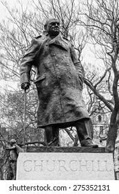 Statue of Winston Churchill, Parliament square, London.