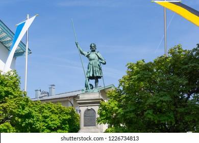 Statue Winzerer Bad Tolz at blue sky Bavaria Germany