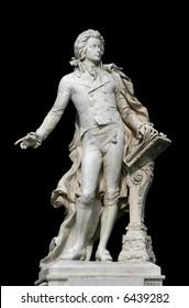 Statue of Wolfgang Amadeus Mozart in the Burggarten garden in Vienna, Austria, isolated on black