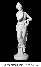 statue of a woman in the antique style on the isolated black background