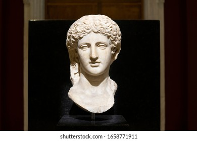 Statue of woman head in Istanbul Archaeology Museum, Turkey, 2020.
