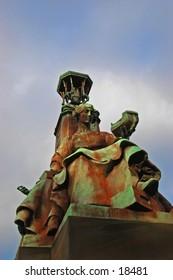 A Statue Of  A Woman On A Bridge In Glasgow,Scotland