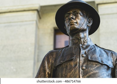 Statue of World War One Doughboy Infantry Soldier During Daytime at the Ohio  Statehouse in Columbus, Ohio - September 20, 2016