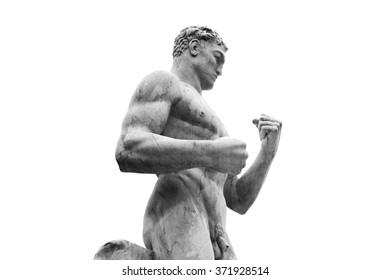 Statue of a wrestler in Stadio dei Marmi, Stadium of the Marbles, inside the Foro Italico a sport complex in Rome, Italy