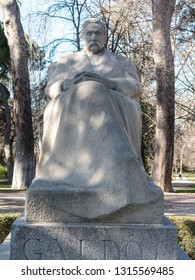 Statue of the writer Benito Perez Galdos (1843-1920)  the Retiro Park in Madrid, Spain. He was a Spanish realist novelist. Some authorities consider him second Spanish novelist.
