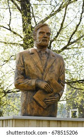 Statue of the writer  Bram Stoker in Piatra Fantanele (Bistrita-Nasaud), Hotel Dracula, Pasul Tihuta, Romania, 2017,may