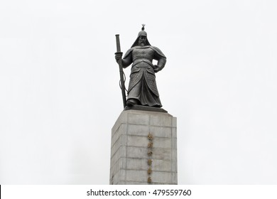 Statue of Yi Sun-sin in Seoul, he was a Korean naval commander, famed for his victories against the Japanese navy during the Imjin war in the Joseon Dynasty