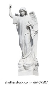 Statue of a young angel isolated on white with clipping path