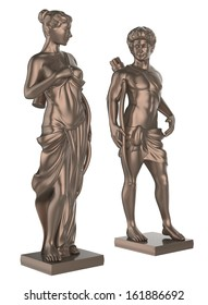 statue of a young man and woman soldier