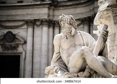 Statue of Zeus in Fountain, Piazza Navona, Rome, Italy