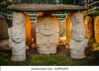 The statues from ancient culture in San Augustin, Colombia