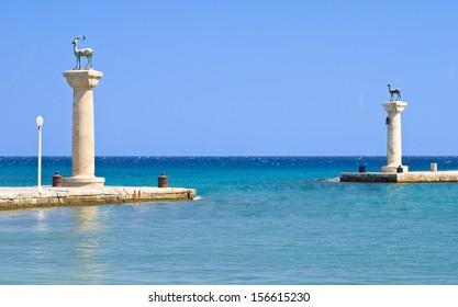 Statues of deers in harbor of Rhodes city, Rhodes island, Greece