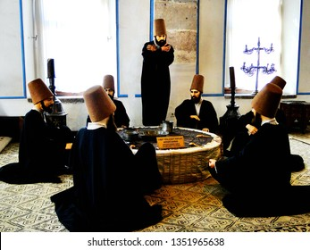 Statues to describe Sufism group of spiritual and religious practice. Art crafts demonstration in Mevlana Museum, Jalal ad-Din Muhammad Rumi, in Konya city in Turkey.  2010-3.