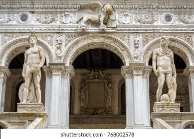 Statues of the Doge's Palace exterior (Palazzo Ducale), Venice, Italy. It is one of the main tourist attractions of Venice. Renaissance decorations of Doge's Palace. Beautiful door of Venice landmark.