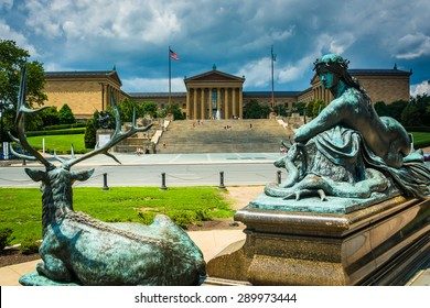 Statues at Eakins Oval and the Museum of Art in Philadelphia, Pennsylvania.