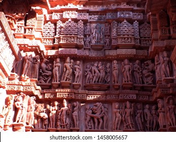 Statues of gods in erotic postures of Kamasutra at Khajuraho western group of temples